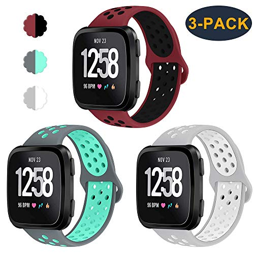 CAVN 3-Pack Compatible Fitbit Versa Bands for Men Women, Sweat Resistant Replacement Accessory Strap Bracelet Compatible Fitbit Versa Smartwtach (S/5.5-6.8, Red/Black+Grey/Teal+Grey/White)