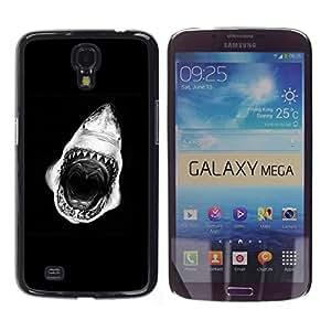 Caucho caso de Shell duro de la cubierta de accesorios de protección BY RAYDREAMMM - Samsung Galaxy Mega 6.3 I9200 SGH-i527 - Mouth Teeth Black White