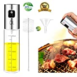 Olive Oil Sprayer, Jiulyning Stainless Steel Refillable Oil Sprayer for Cooking, Oil Vinegar Dispenser Bottle with Food-Grade Glass for BBQ, Making Salad, Cooking, Baking, Roasting, Grilling, Frying