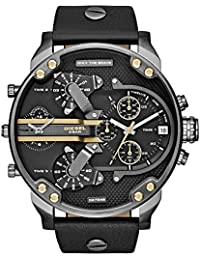 Men's DZ7348 Mr Daddy 2.0 Gunmetal Black Leather Watch
