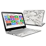 """MightySkins Protective Vinyl Skin Decal for HP Spectre x360 13.3"""" (2015) wrap cover sticker skins White Marble"""