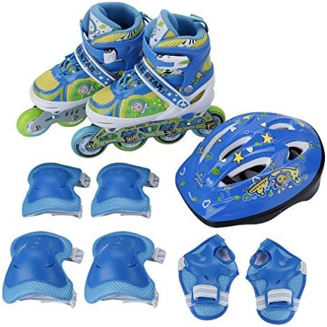 LESHP Inline Skates Adjustable Rollerblades for Kids with Breathable Mesh Skates, Double Secure Lock, Kids Skate Protective Gear Knee Elbow Pads Wrist Guards, All the Wheels Have Lights Blue