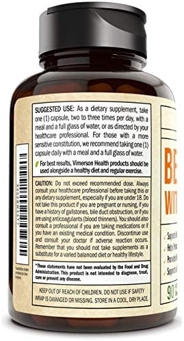 Berberine Turmeric Curcumin Supplement with Bioperine – 90 Vegan Capsules – Supports Joints Health, Glucose Metabolism, Heart Health – with Black Pepper Extract – 30 Day Supply