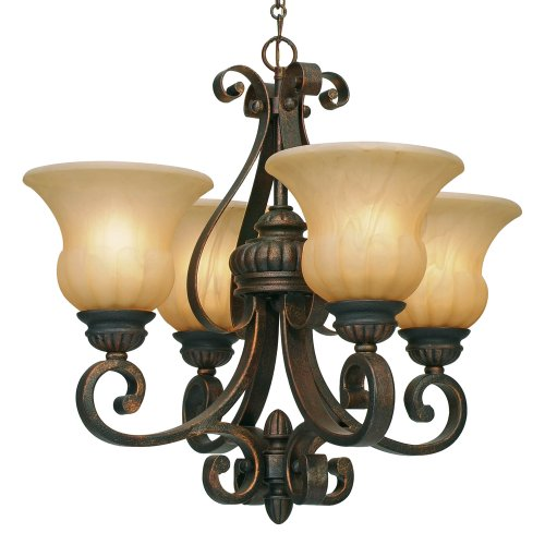 Lc Leather Crackle Finish - Golden Lighting 7116-GM4 LC Mayfair Chandelier-Mini, Fixture Size: 19 W x 18-Inch H, Leather Crackle