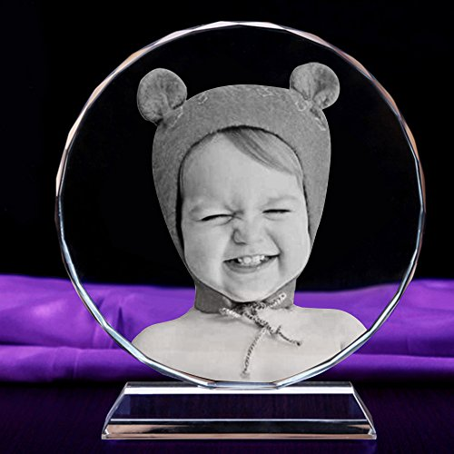 3D Laser Personalized Custom Engraved Crystal Photo Round 5.5 Inches (Candles Picture Memorial)