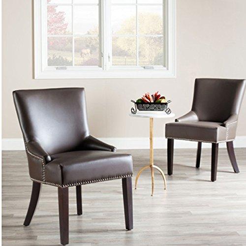 Safavieh Mercer Collection Christine Grey Leather Nailhead Dining Chair, Set of 2 -  MCR4700G-SET2