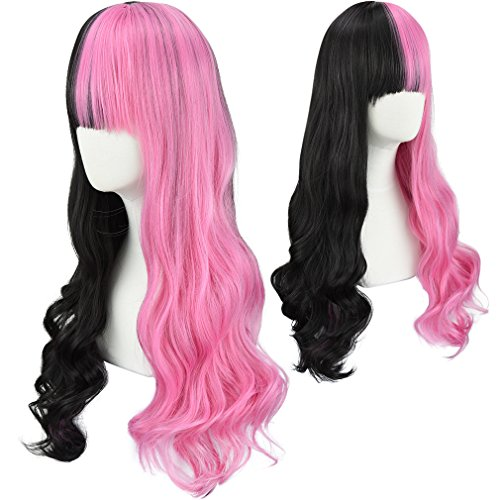 SEIKEA Half Color Wig for Women with Bangs Long Wavy Hair Cute Girl Cosplay Party - Black Pink
