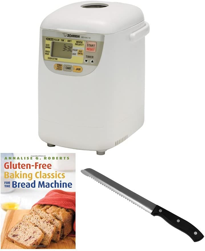 Zojirushi BB-HAC10 Home Bakery 1-Pound-Loaf Programmable Mini Breadmaker with Bread Knife and Gluten-Free Recipe Book Bundle (3 Items)