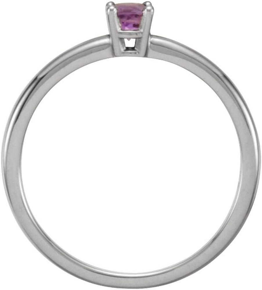 Size 3 Bonyak Jewelry Sterling Silver Imitation Amethyst February Youth Birth Month Stone Ring