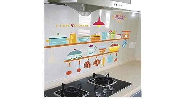 Divertidos utensilios de cocina 30 * 90 cm tatuajes de pared tienda ventana decoración del hogar dibujos animados pegatinas de pared decoraciones pvc cartel diy mural art, 824: Amazon.es: Bricolaje y herramientas