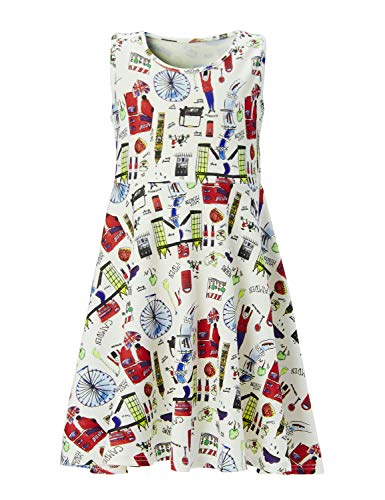 Leapparel Girls Dress Floral Sleeveless Round Neck for Casual/Party/Wedding (Tandem Bicycle, L /8-9 Years Old)
