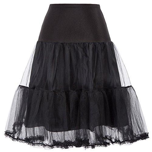 GRACE KARIN Vintage Rockabilly Net Crinoline Costume Outfit (L, Black) -