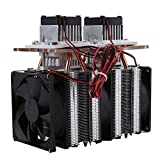 Akozon Peltier Cooling Semiconductor Refrigeration 144W 12V Double Core Thermoelectric Peltier Cooling Cooler Air Cooling Equipment DIY Semiconductor Double Head Radiator kit with 3pcs 9025 Cooling Fa