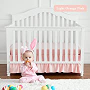 TILLYOU Crib Skirt Dust Ruffle, 100% Natural Cotton, Nursery Crib Bedding Skirt for Baby Boys or Girls, 14  Drop/Peach Pink (Light Orange Pink)