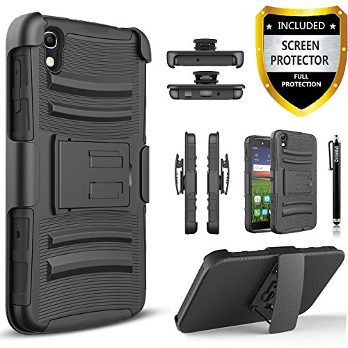 Idol 3 Case, Alcatel IDOL 3 (5.5 Inch) Case, Circlemalls [Combo Holster] Rugged Shell Phone Cover with Built-in Kickstand and Locking Belt Clip With Stylus Pen And [HD Screen Protector]-Black (One Touch Alcatel 5 Phone Cases)