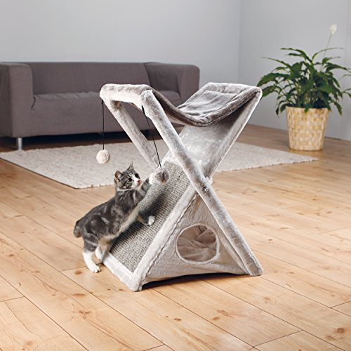 "Trixie Pet Products Miguel Fold and Store Cat Tower, 20.25 x 13.75 x 25.5"", Gray/Light Gray"