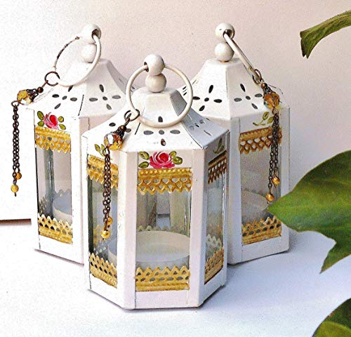 - Decorative Mini White Metal Tea Light Candle Holder Lantern with Painted Roses Shabby Chic Home Decor