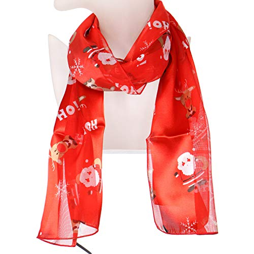 Christmas Xmas Satin Winter Scarf, Lightweight Soft Wrap Shawl Scarves, Hohosanta Red