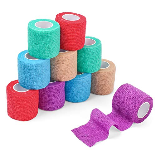 LotFancy Vet Wrap for Dogs Horses Cat, 2 Inches x 5 Yards, Self Adherent Cohesive Bandage Wrap Tape, Assorted Colors, 10 Rolls