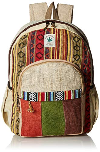 Striped Hemp and Colorful Cotton Backpack Handmade Nepal with Laptop Sleeve - Fashion Cute Travel School College Shoulder Bag / Bookbags / Daypack ()