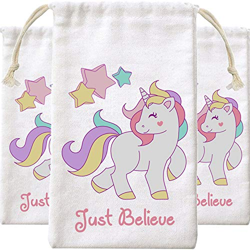 Unicorn Party Gift Bags With Cotton Drawstring (10 Pack)