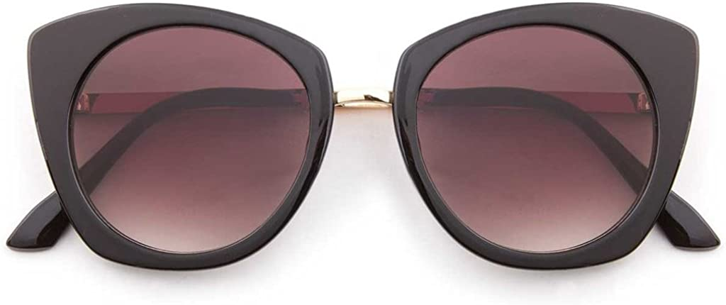 Amazon Com Flat Lens Fashion Cateye Multicolored Oversized Sunglasses Milan Black As Shown Clothing