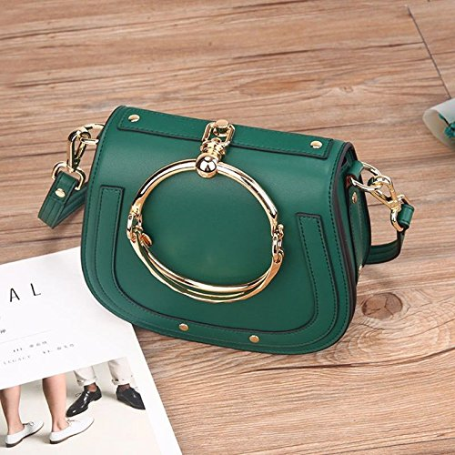Shoulder green Ladies GMYAN rings Satchel saddle Single retro bags fashion leather rAvq4dwvx8