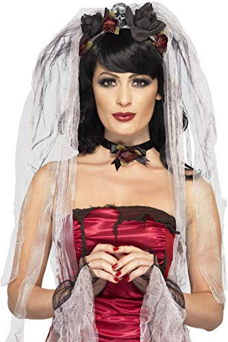 Smiffys Women's Gothic Bride Kit, Veil, Choker and Gloves, One Size, Multi, 23343 ()