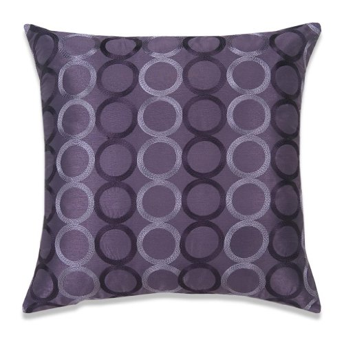 CaliTime Contempo Decorative Throw Pillow Cover Faux Silk Two-tone Circles Rings Chain Embroidered 18 X 18 Inches Purple