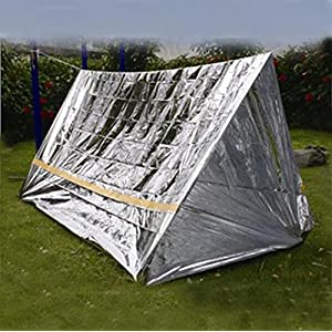 Emergency Survival Shelter Tent and Survival Blanket Combo 2 Person Mylar Thermal Shelter | 8' X 5' All Weather Tube Tent Reflective Material Conserves Heat Lightweight Waterproof Survival Gear