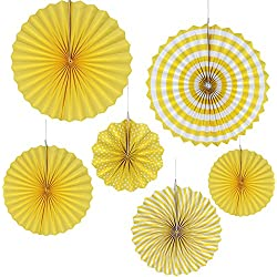 Yellow Paper Fan Kit for Baby Shower Wedding Bridal Shower Birthday Decoration 6pcs/Pack