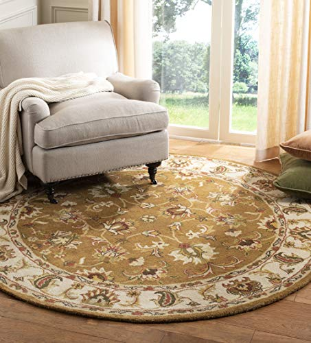 Safavieh Heritage Collection HG816A Handcrafted Traditional Oriental Mocha and Ivory Wool Round Area Rug (8
