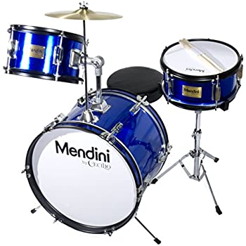 Mendini by Cecilio 16 inch 3-Piece Kids / Junior Drum Set with Adjustable Throne, Cymbal, Pedal & Drumsticks, Metallic Blue, MJDS-3-BL
