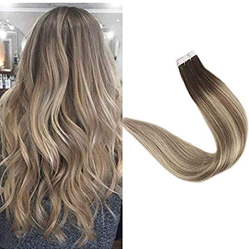 "Full Shine 20"" Blonde Balayage Human Hair Extensions Tape In Remy Human Hair Brown Roots Color #3 Fading To #8 And #22 Seamless Skin... by Full Shine"