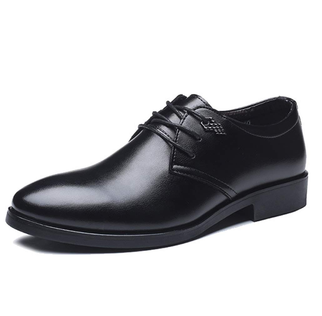 SHANGWU Men's Leather Shoes Men's Daily Casual Business Dress Shoes Fashion Men's Shoes British Boutique Lace Shoes Men's Wedding Shoes (Color : Black, Color : 40)