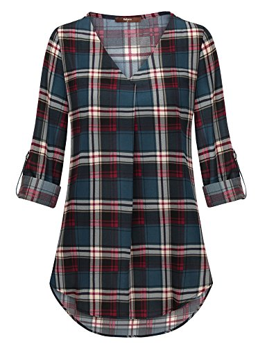 Gaharu Womens Blouse  Girls Cuffed Sleeve Pattern Tops Modern Zulily Buffalo Plaid Retro Print Button Down Tunic Shirts Cute Chic Outfits Dark Cyan Xxl