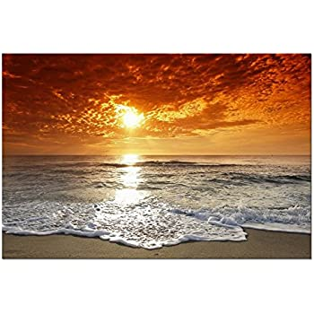 Wieco Art - The Sea Modern Landscape Artwork Stretched and Framed Seascape Giclee Canvas Prints Sea Beach Pictures Photo Paintings on Canvas Wall Art for Living Room Home Decorations