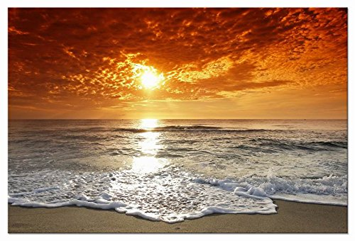 Wieco Art The Sea Canvas Prints Wall Art Sunset Ocean Beach Pictures Photo Paintings for Living Room Bedroom Home Decorations Modern Stretched and Framed Seascape Waves Landscape Giclee Artwork -