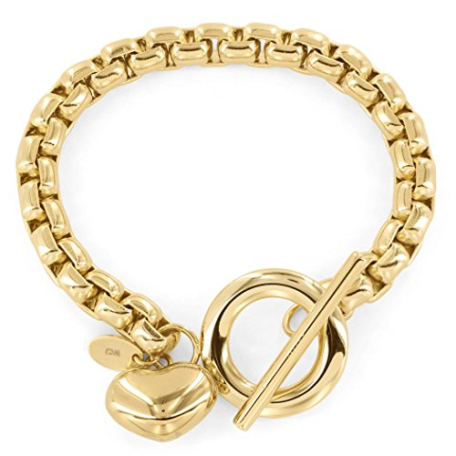 Women's Gold Plated Stainless Steel Puff Heart Charm Boxed Chain Bracelet 7.5