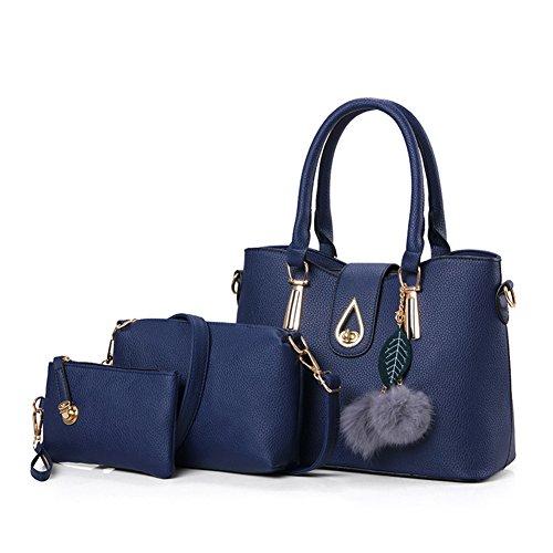 et 3pcs bandoulière à Femme main grande Belle Pochette sac capacité Set Femme à sac maquillage Bleu Sac SRwFqwI