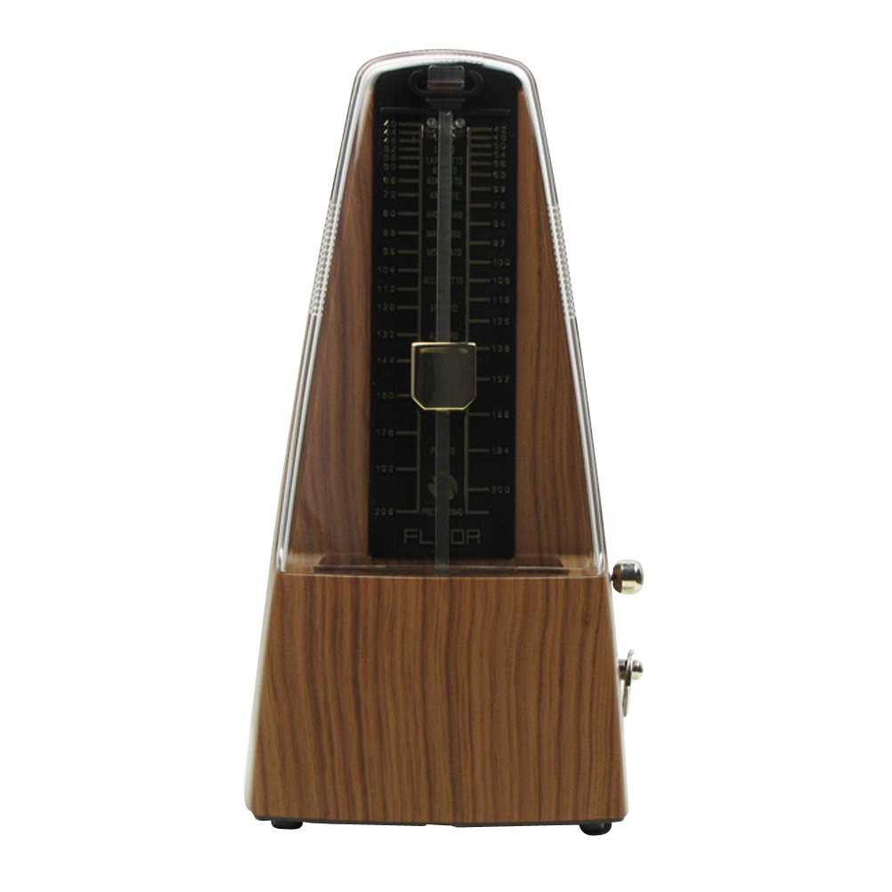 FLEOR Traditional Triangle Mechanical Metronome (Light Teak) with Bell, High Accuracy Tempo Range 40~208bpm for Piano, Guitar, Drums, Bass