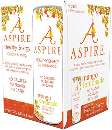 Aspire Healthy Energy  Calorie Burning  Zero Calorie  Zero Sugar Drink 4 Pack Mango Lemonade 12Oz  355Ml  Cans