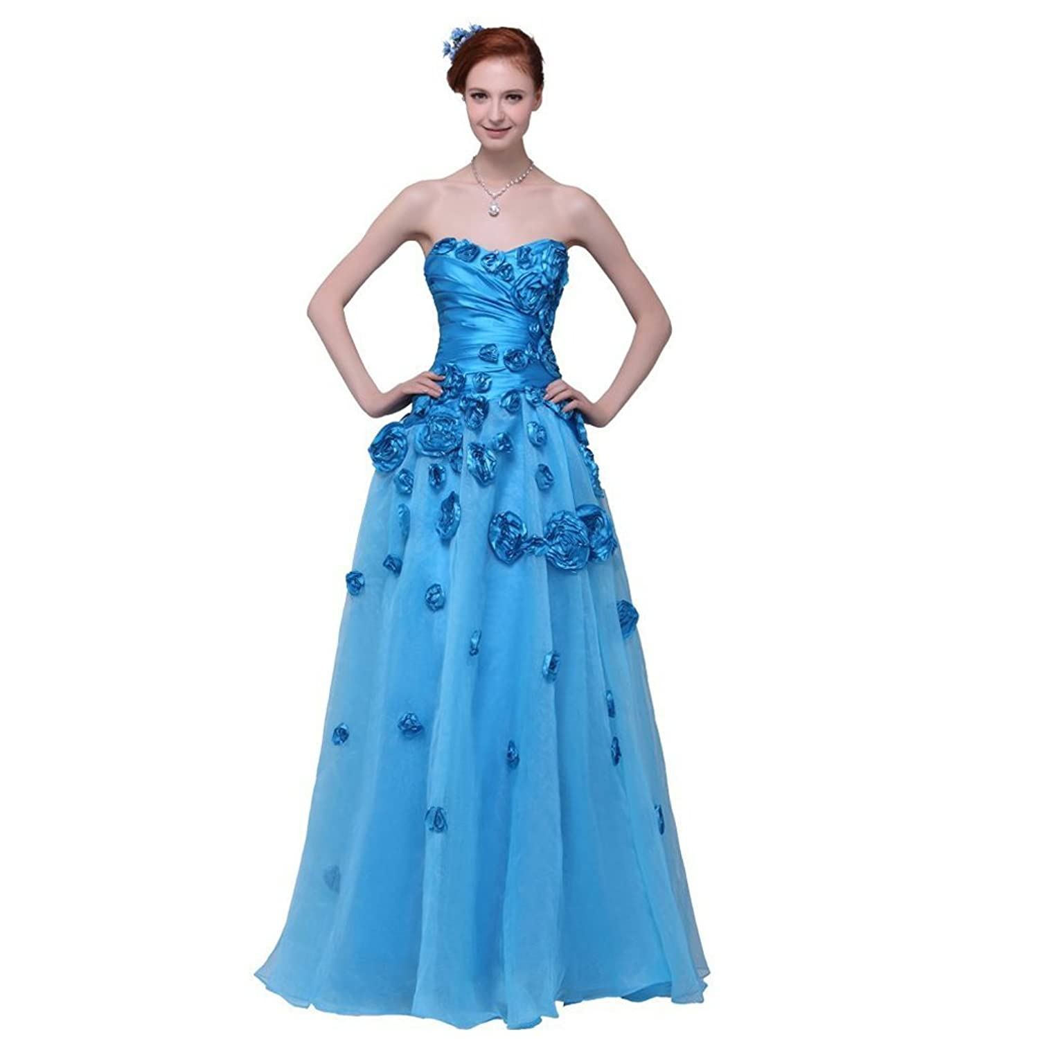 Dearta Women's A-Line Sweetheart Sleeveless Floor-Length Tulle Prom Dresses