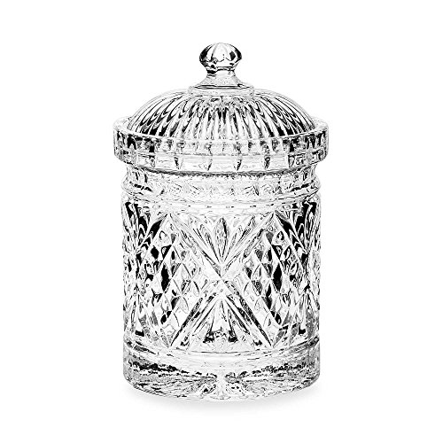 Le'raze Elegant Crystal Diamond-faceted Candy Dish With Crystal With Lid, Quality Decorative Biscuit Jar (Shell Candy Dish)