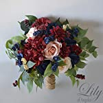 Wedding-Bouquet-Bridal-Bouquet-Bridesmaid-Bouquet-Silk-Flower-Bouquet-Wedding-Flower-peach-navy-blue-burgundy-blush-Lily-of-Angeles