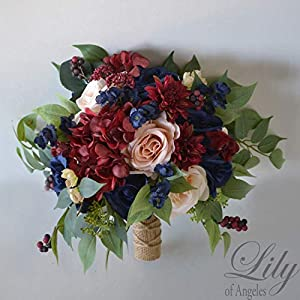 Wedding Bouquet, Bridal Bouquet, Bridesmaid Bouquet, Silk Flower Bouquet, Wedding Flower, peach, navy blue, burgundy, blush, Lily of Angeles