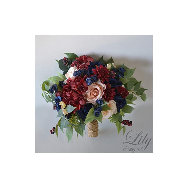 silk flower arrangements wedding bouquet, bridal bouquet, bridesmaid bouquet, silk flower bouquet, wedding flower, peach, navy blue, burgundy, blush, lily of angeles