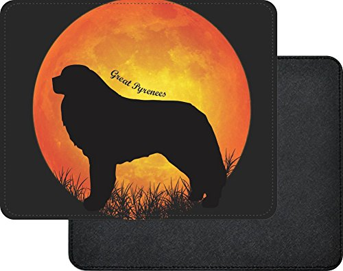 Rikki Knight Great Pyrenees Dog Silhouette by Moon Design Faux Leather Rectangular Mouse Pad -