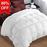 Twin Comforter Soft Summer Cooling Goose Down Alternative Duvet Insert 2100 Hypoallergenic Quilt with Corner Tab for all Season,Prima Microfiber Filled Reversible Hotel Collection,White,64 X 88 inch