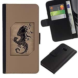 A-type (Dragon Fairytale Brown Black Birds) Colorida Impresión Funda Cuero Monedero Caja Bolsa Cubierta Caja Piel Card Slots Para HTC One M8